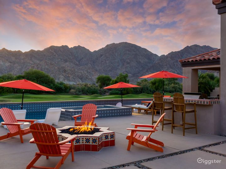 Backyard fire pit, pool, spa with golf course and mountain view
