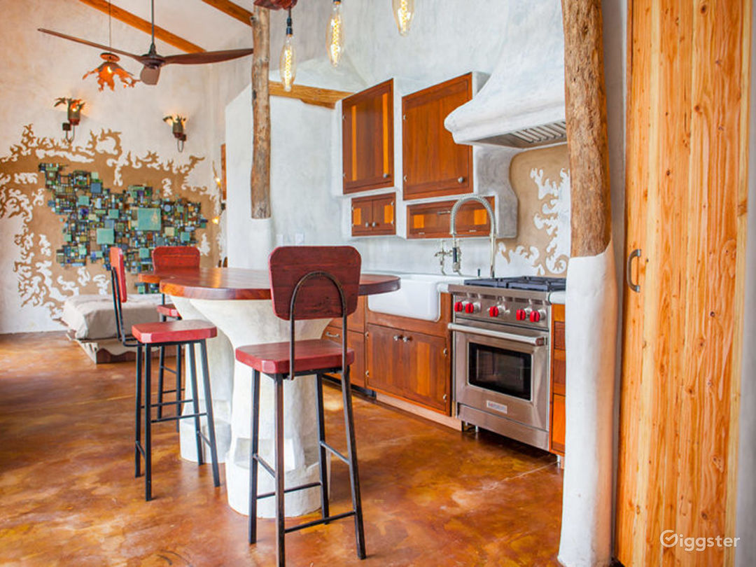 The house hosts three bars and two fully appointed chefs kitchens.