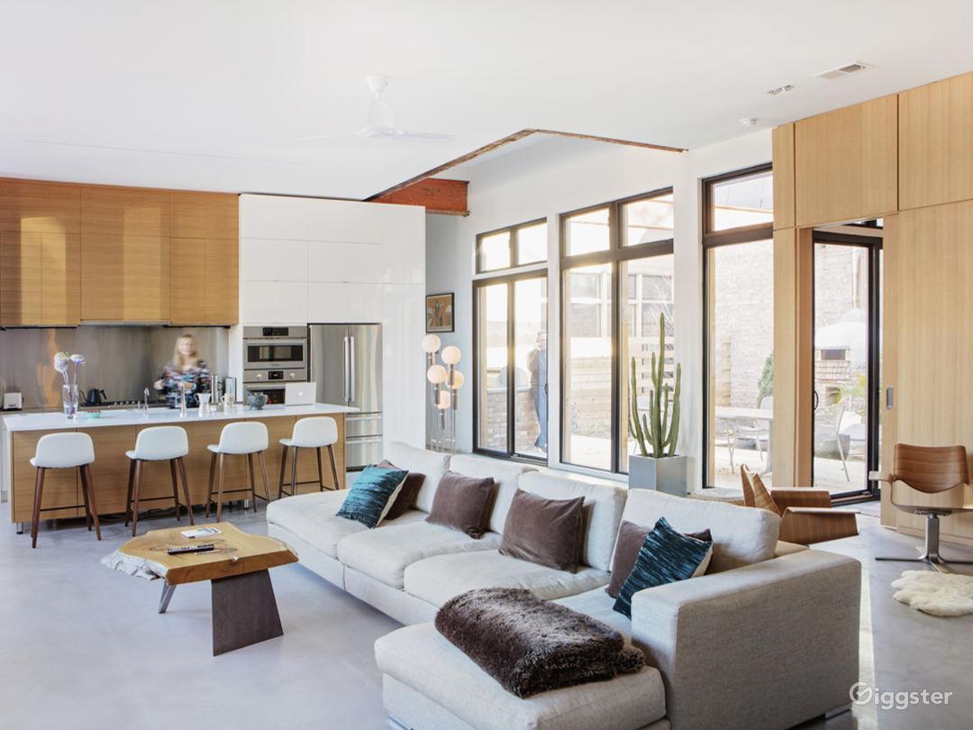 Open floor plan opens to interior courtyard