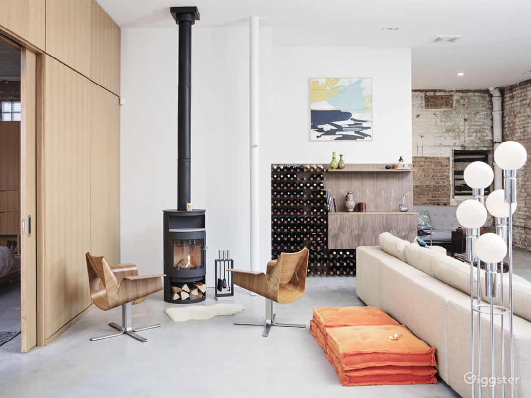 Wood burning stove in main living area