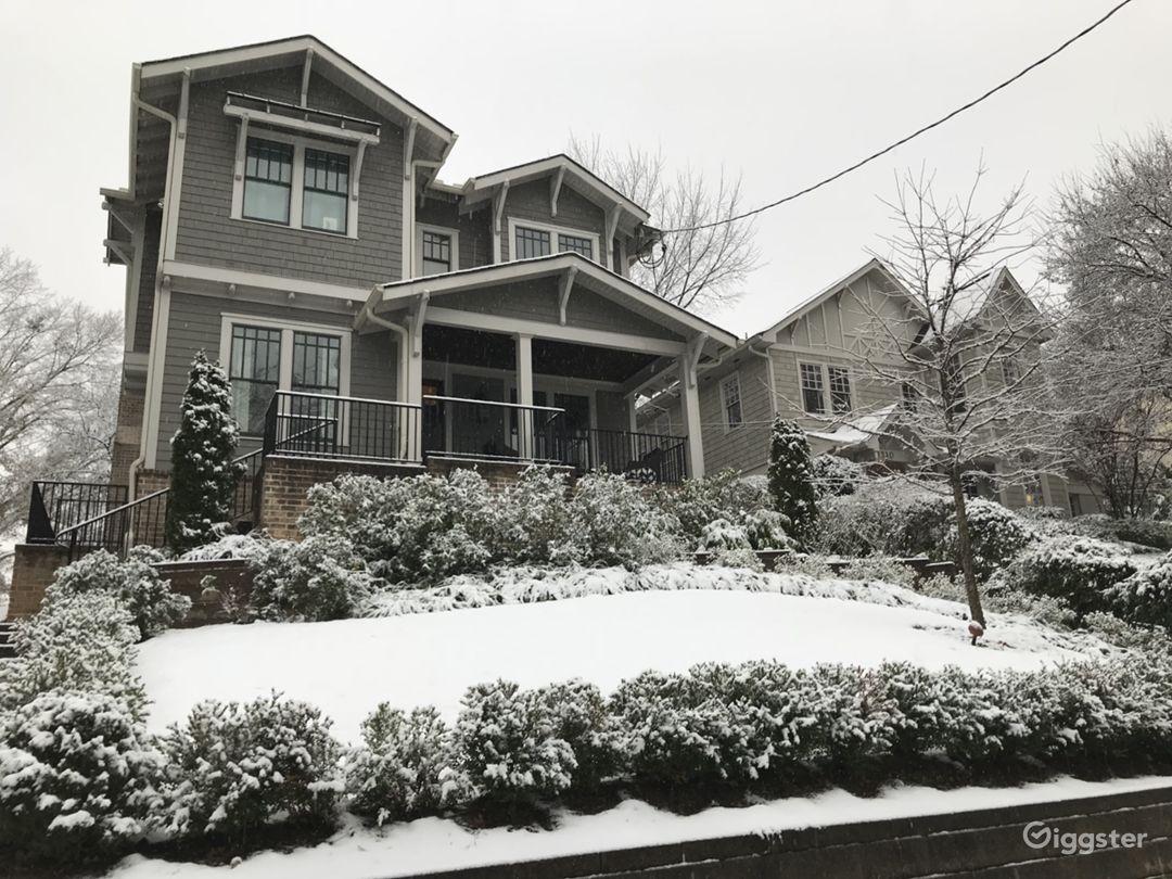 Facade during a rare snowstorm
