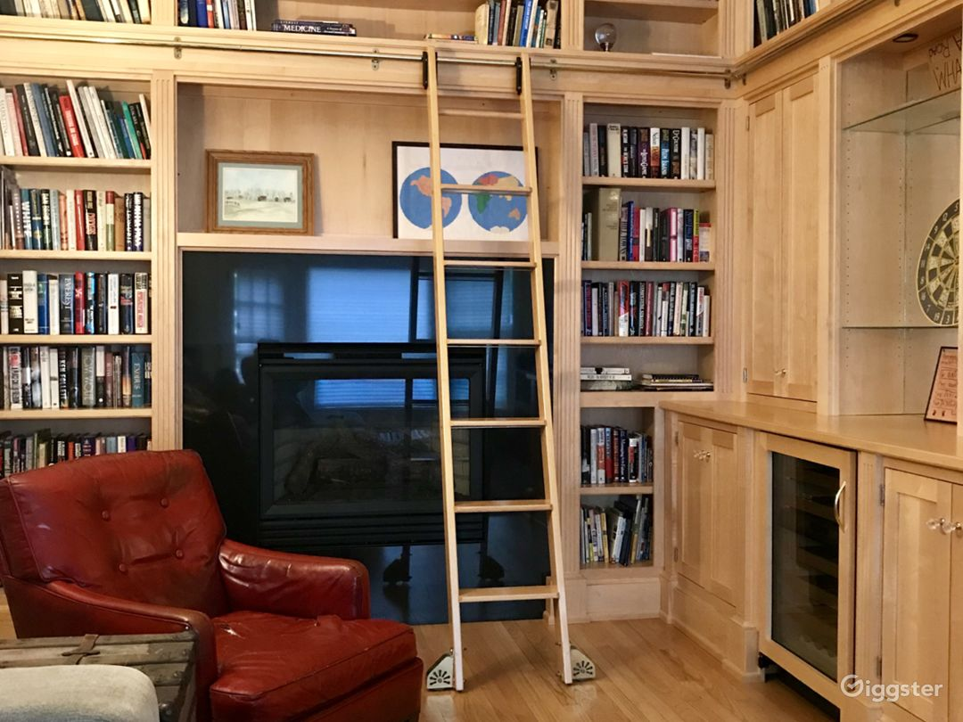 Library with a functional gas fireplace and ladder that slides.