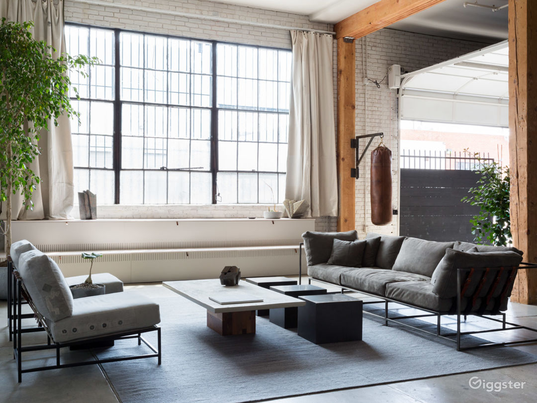 The massive factory windows let in natural light all day