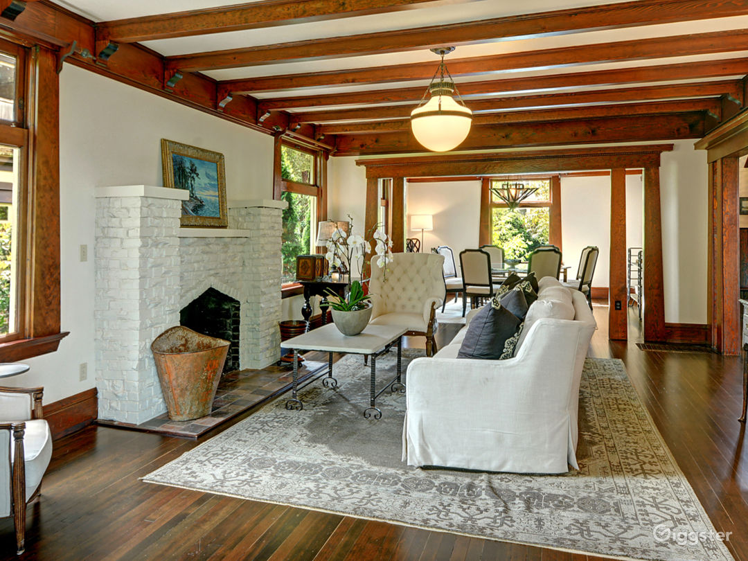 The living room with natural oak beams and detail