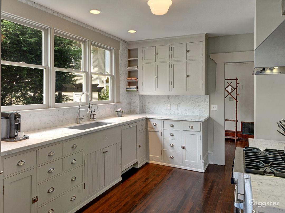 Marble, light-filled kitchen