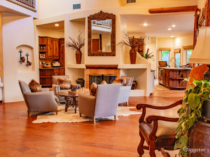 Open living room with 2 story fireplace