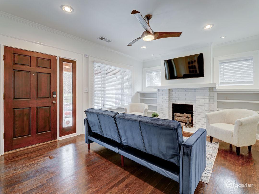 "Living room with 55"" 4K Roku TV"