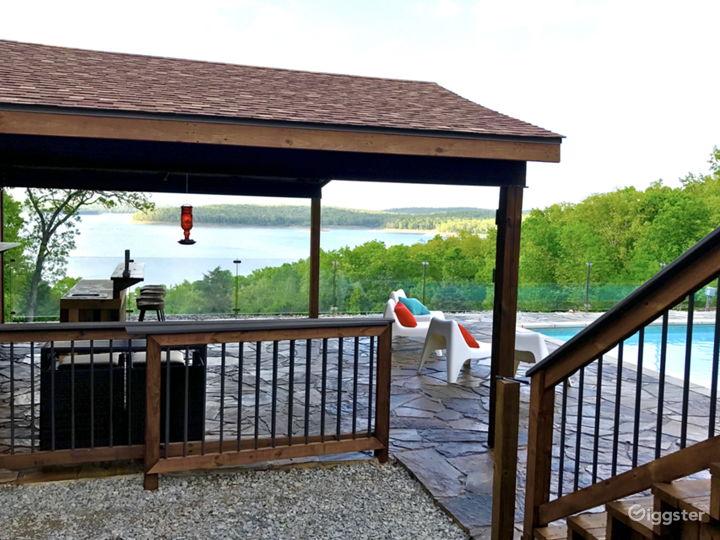 Pool cabana with bar and bathroom.