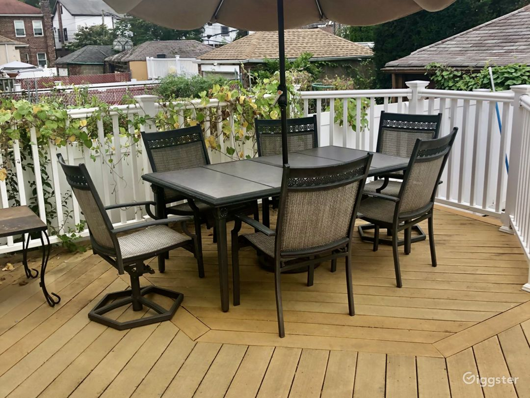 Trex wooden deck and patio set with umbrella