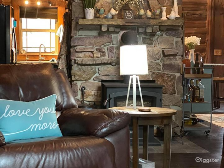 Fireplace faces the living room so snuggle up on the couch and enjoy a fire.