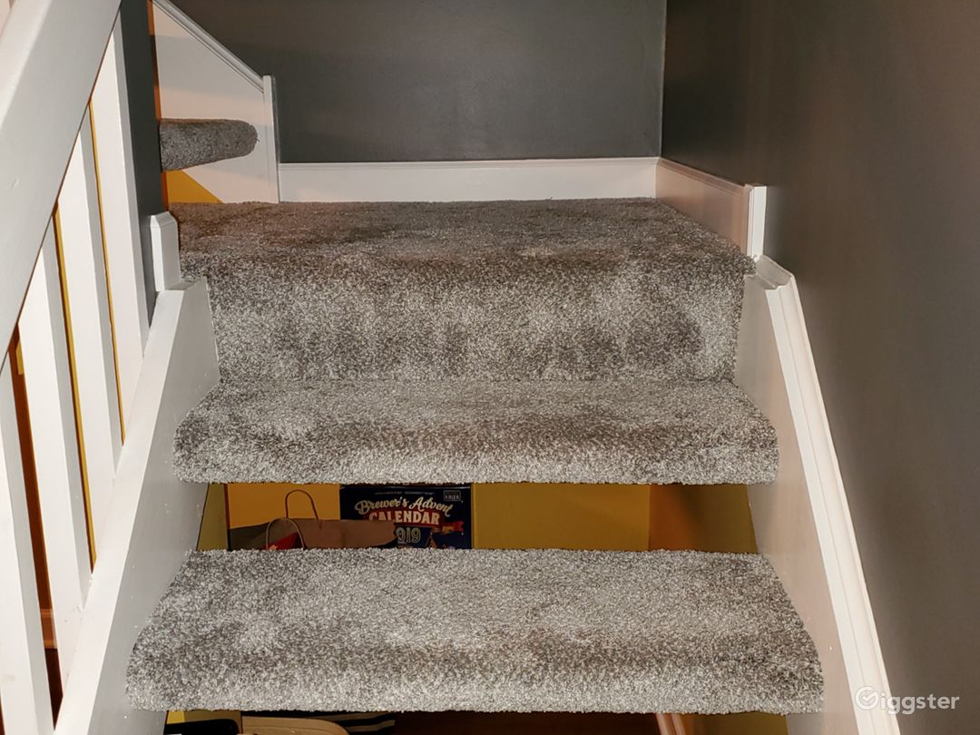 Newly carpeted stairs.