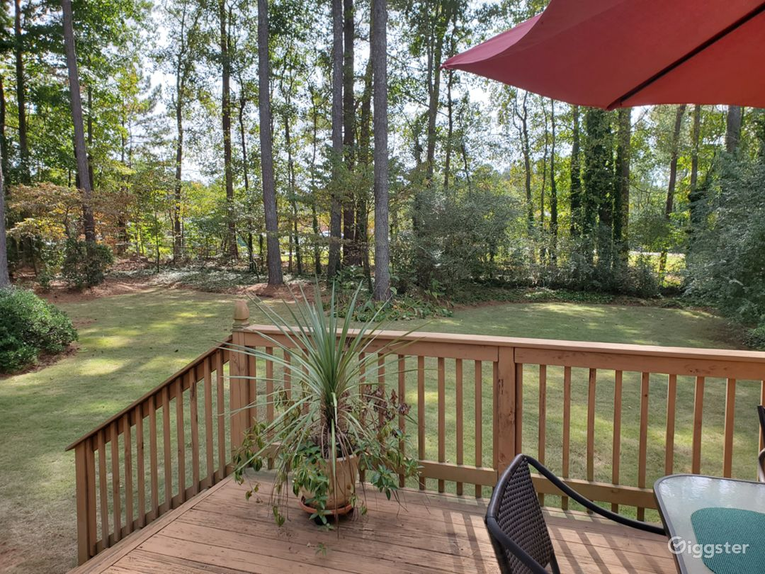 Private Deck with Garden Furniture and partial view of back yard