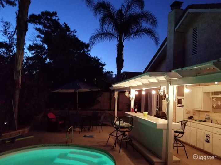 Backyard pool patio. Mature palms, pool, hottub, bar.