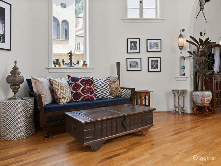 Another sitting area featuring Indian daybed, hand-made Turkish lamps and wall sconces.