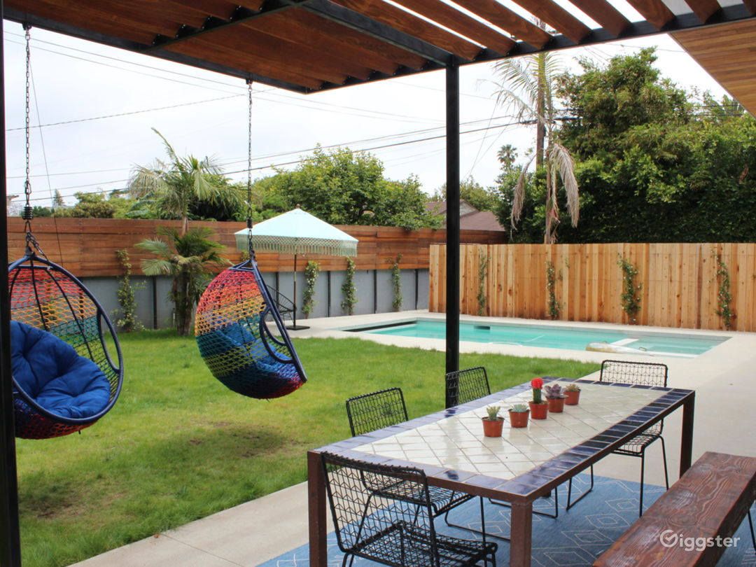 Backyard deck and pool in the back