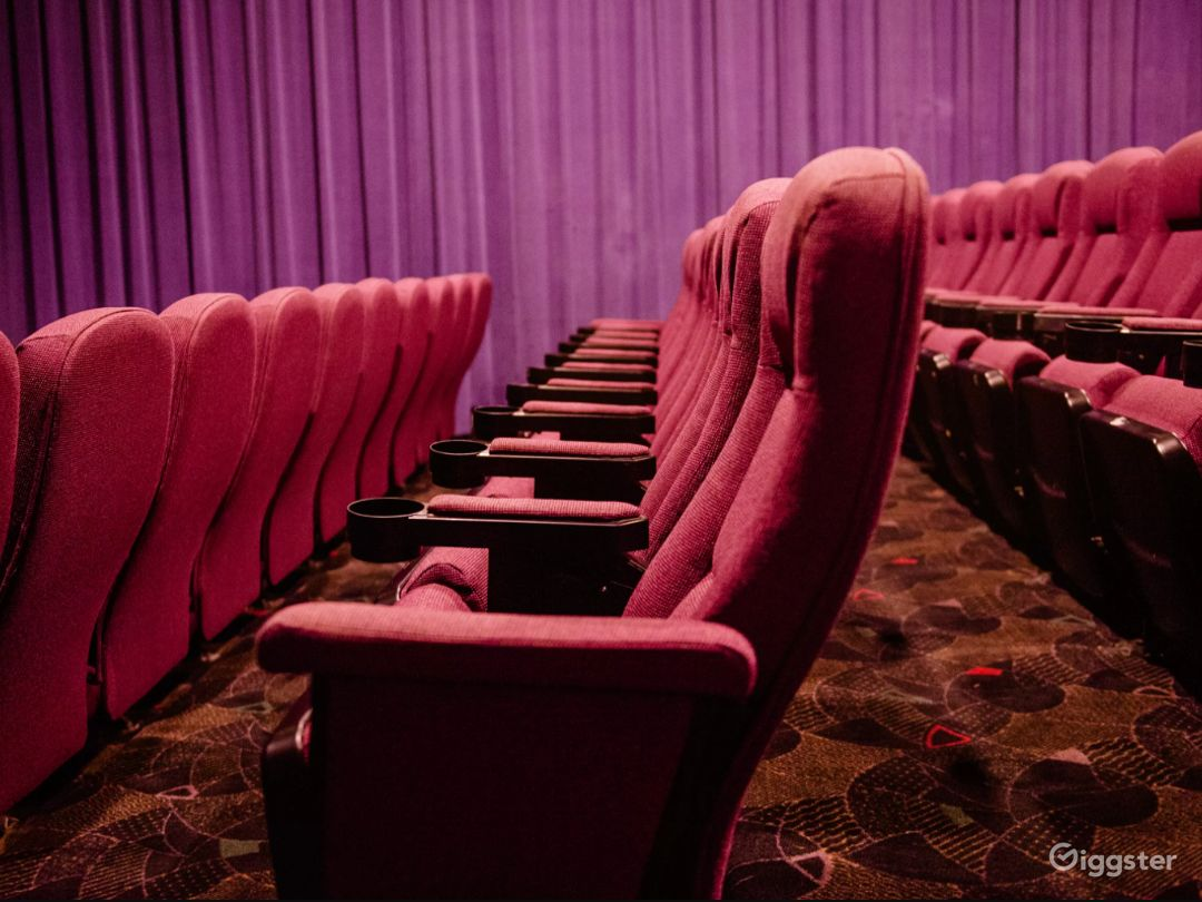 Stadium-style theater seats with a large presentation floor.