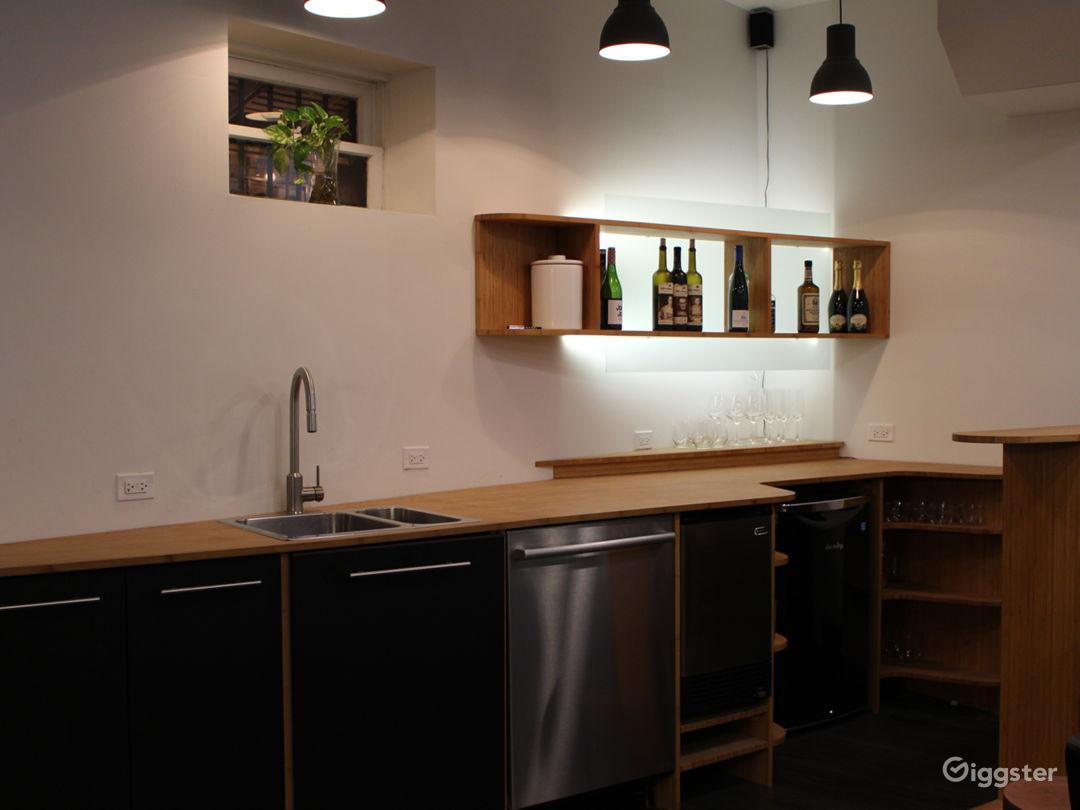 kitchenette-bar with dishwasher, refrigerator + ice maker