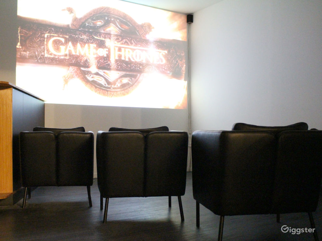 private screening room with projector + 5.1 surround sound system