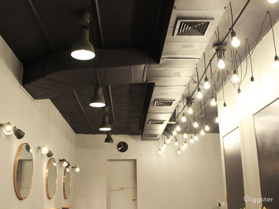 close-up of industrial ceiling with hanging spider lights