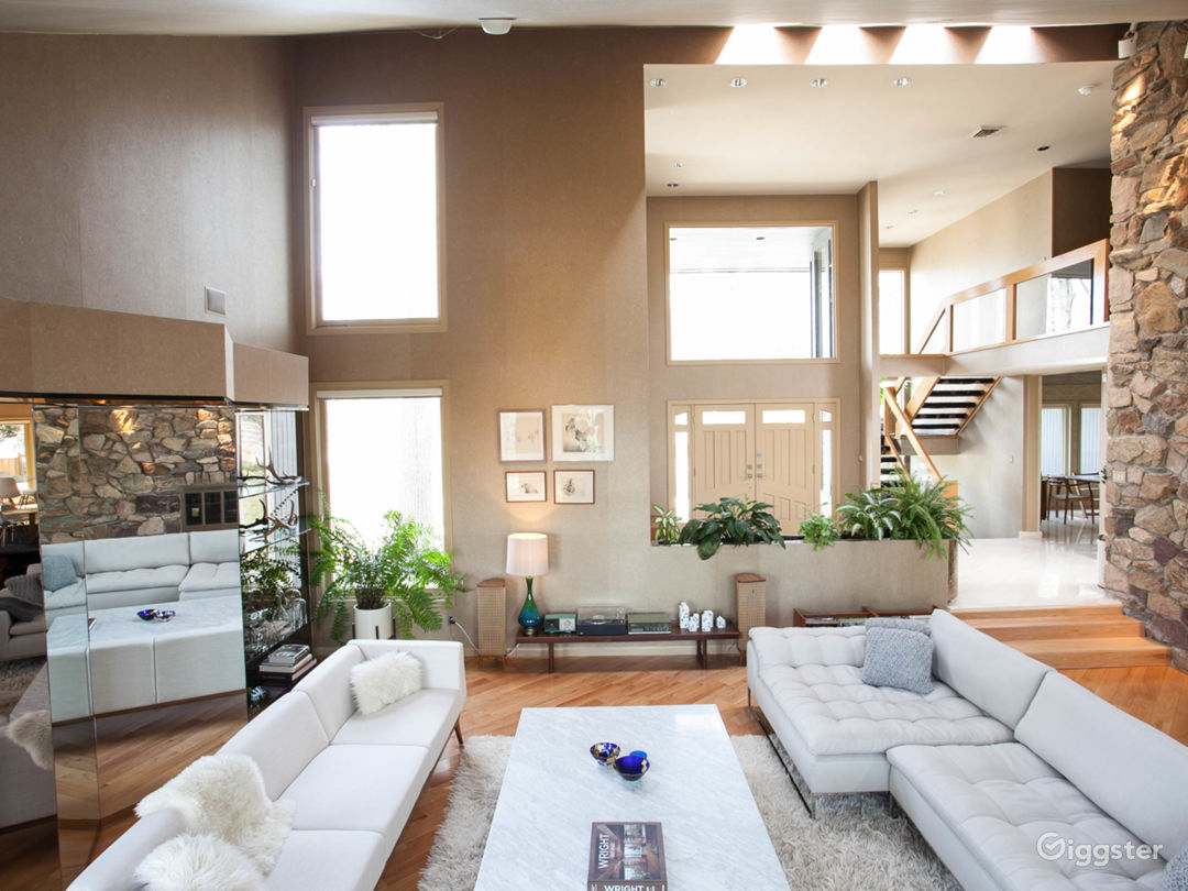 Light filled film set in NJ with modern furniture and room to work
