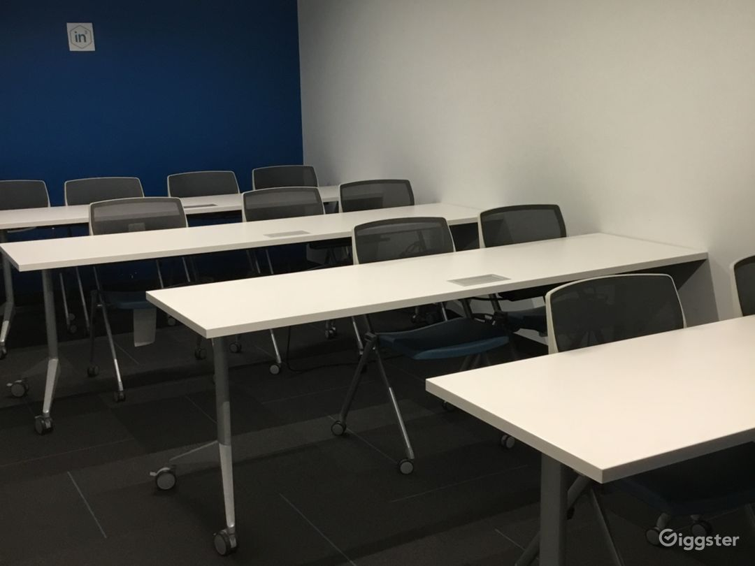 Medium Classroom. Seats 12 to 15 people, more if tables and chairs are removed.