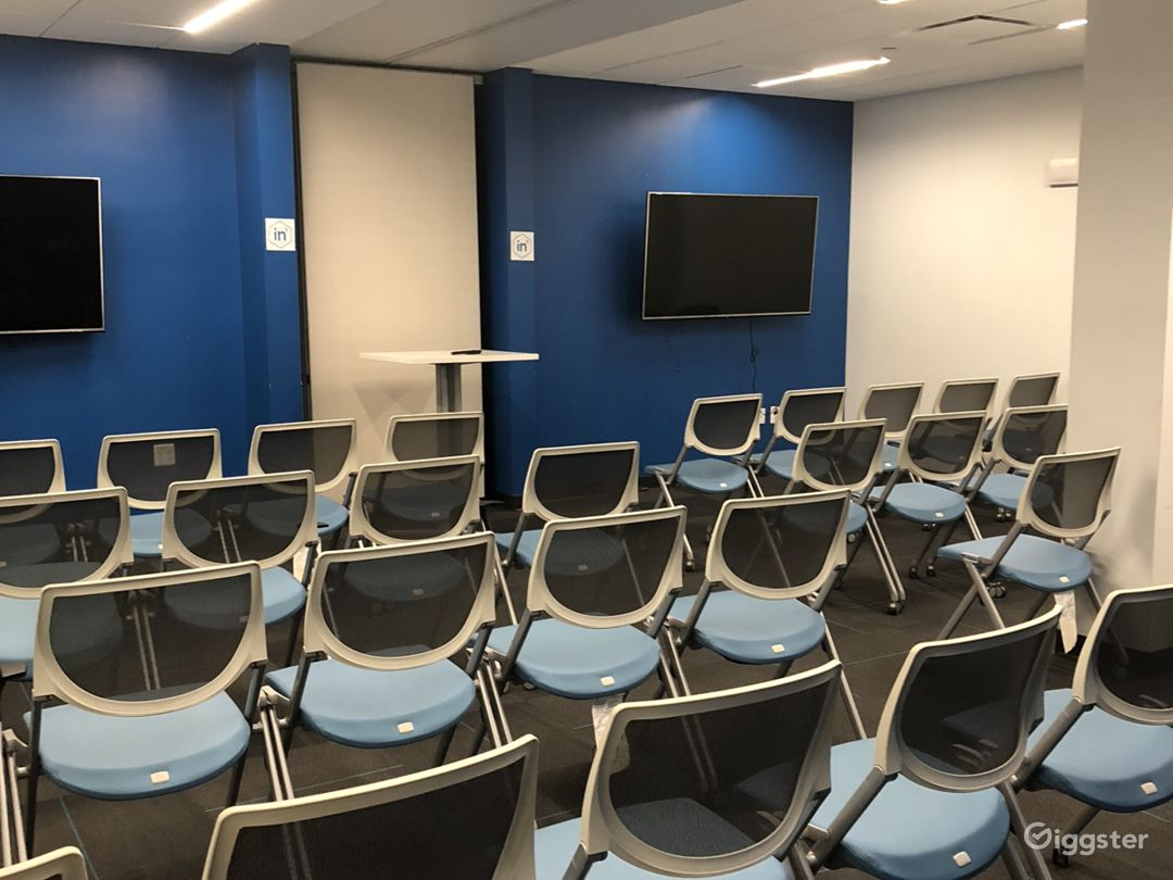 Large classroom. Seats 35 with tables and chairs in the room. 50, with just chairs.