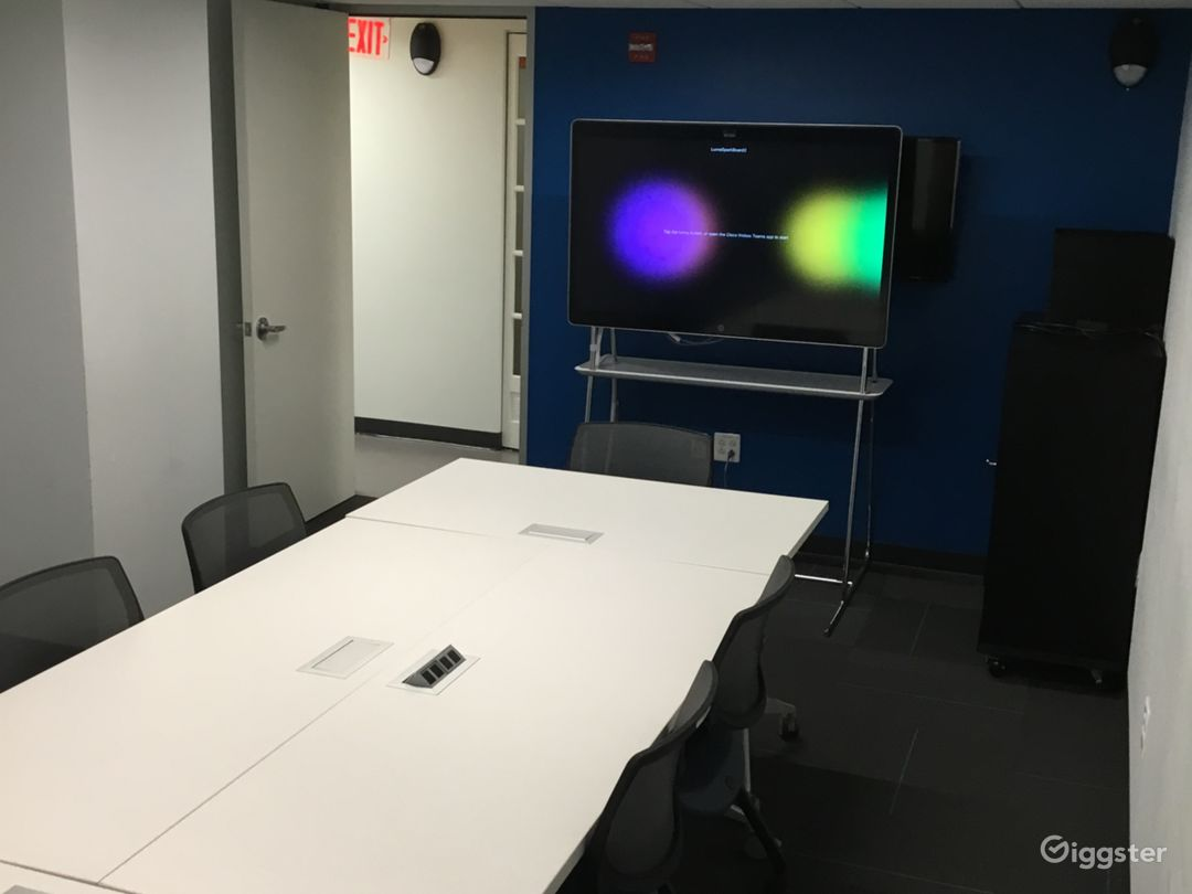Medium Conference Room. Seats 10 to 12 people. Holds more if tables and chairs are moved.   Tables and Chairs can be moved out.