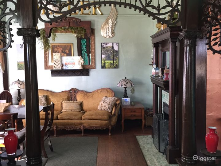 The parlor with fireplace now serves as the dining room and sitting or reading room.
