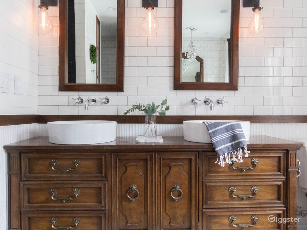 Double sinks on converted vintage dresser