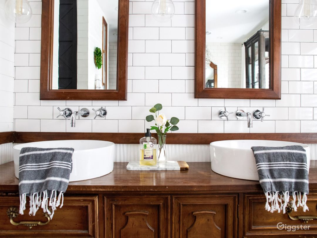 Double sinks on a converted vintage dresser