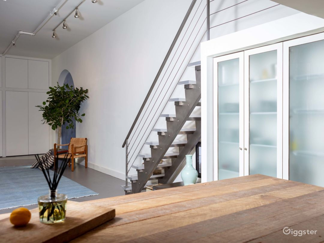 From the kitchen into the main space