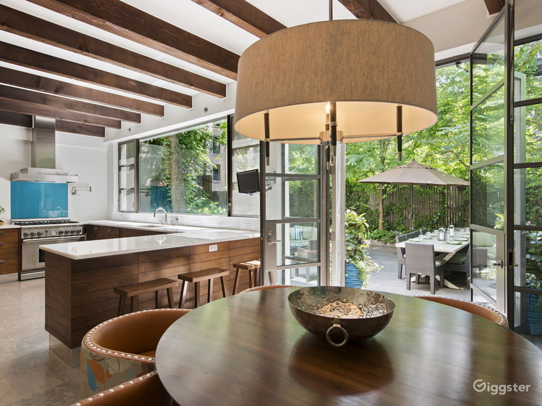 Kitchen with doors to garden