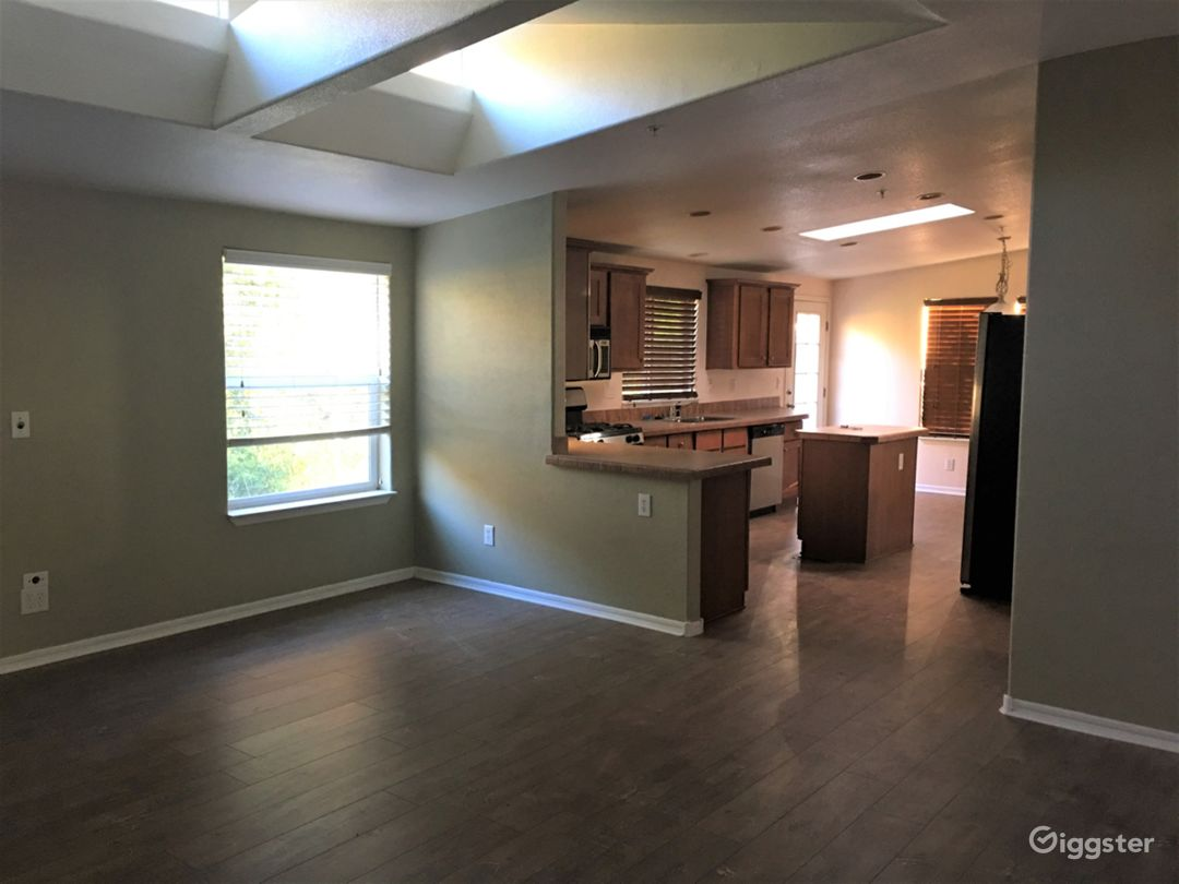 Family room into the kitchen