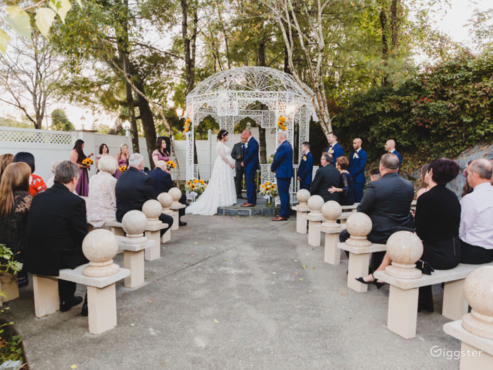 gazebo in garden for wedding ceremonies