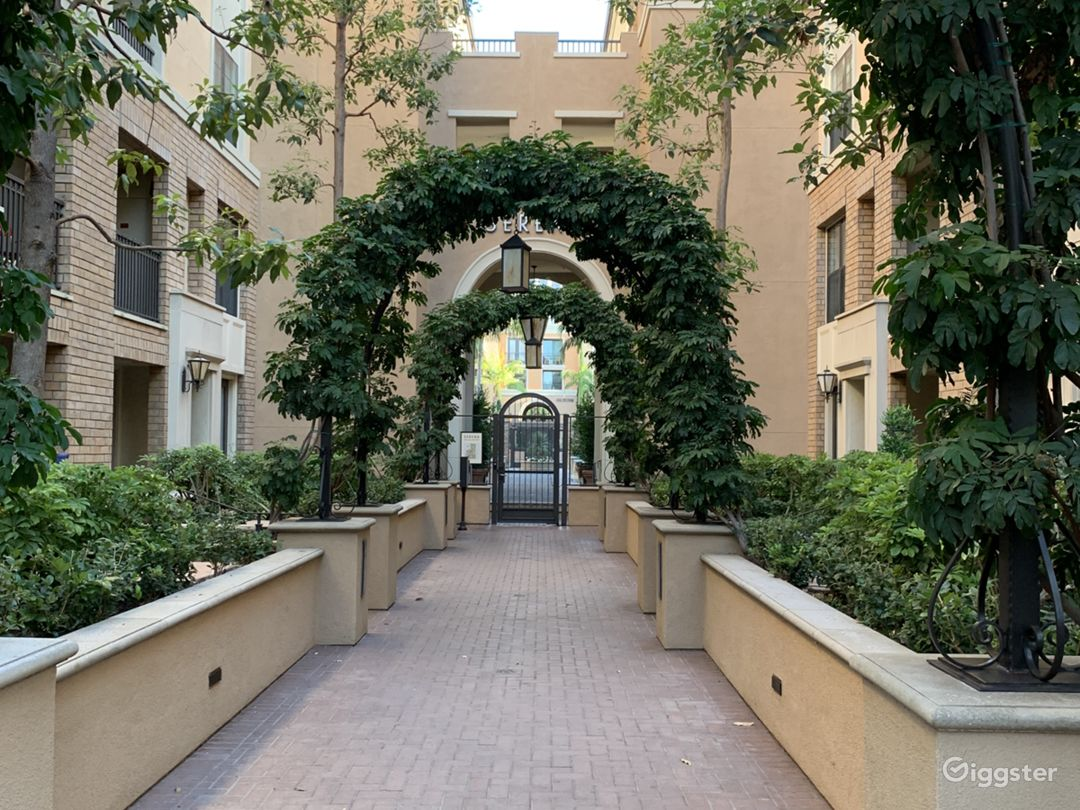 Walkway to entrance of Apartment building