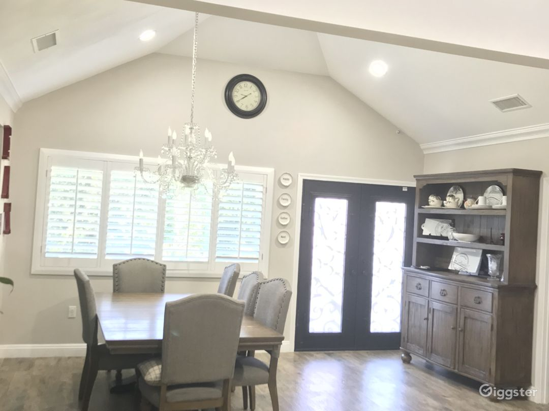 Dining Room Area with High Ceiling.