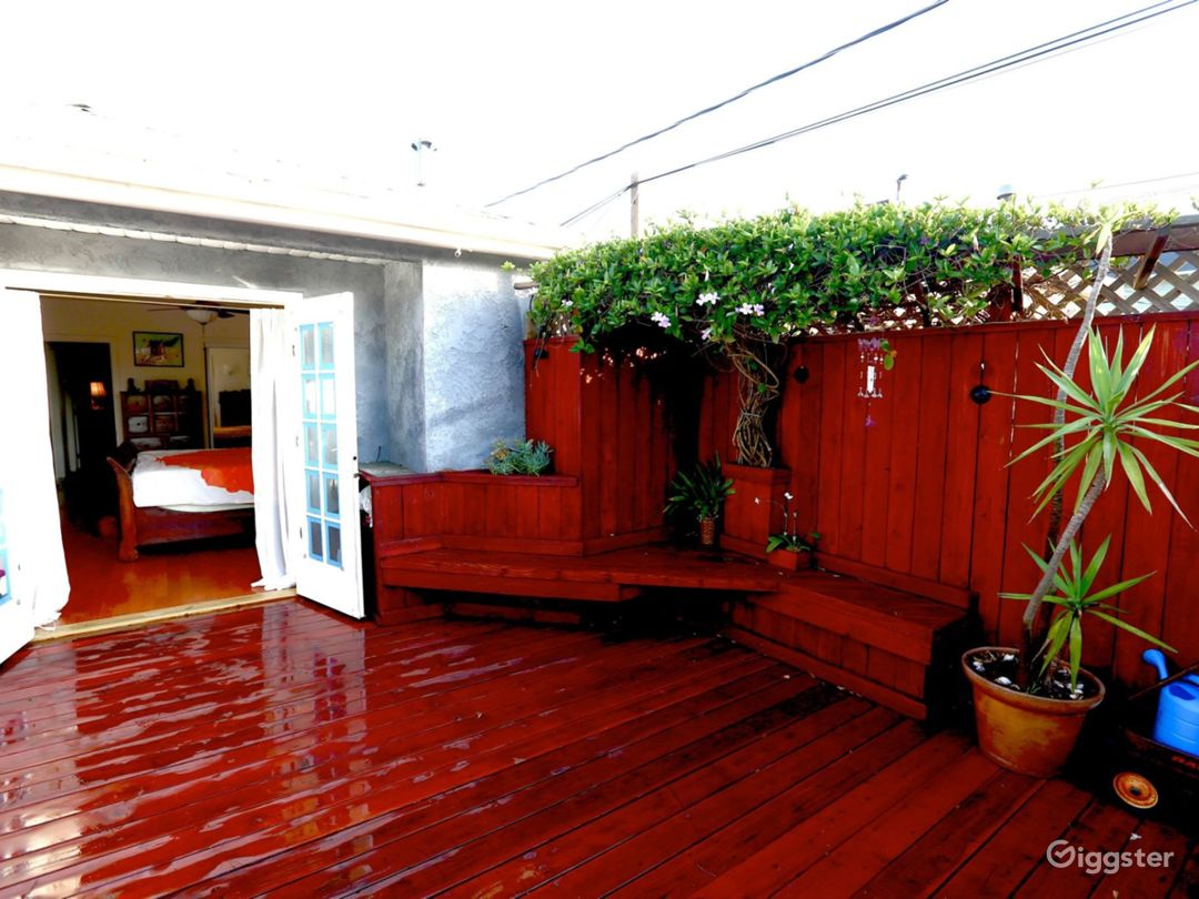 Red wood deck wraps around whole back of house .  Lots of cool creative nooks.