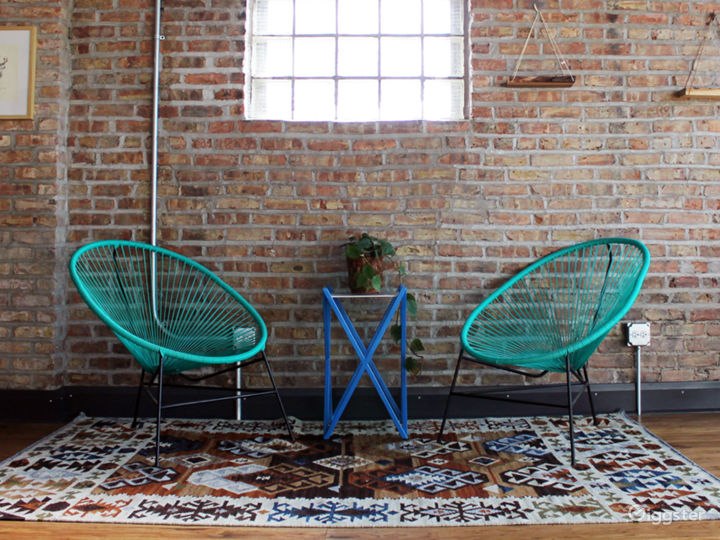 Designed furniture elements for meeting space or photos