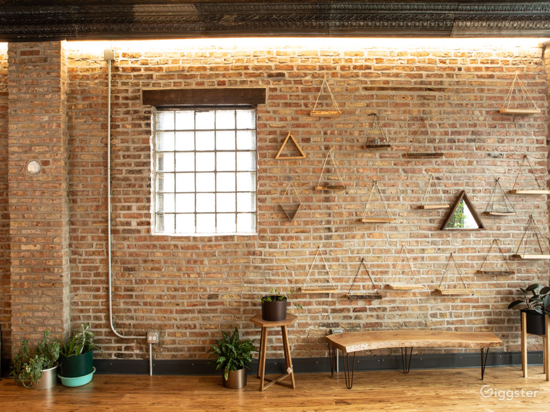 Exposed brick walls with recessed lighting