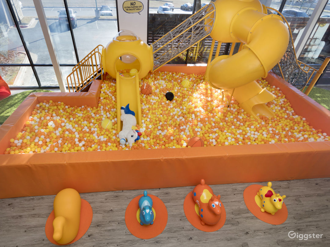 Gigantic ball pit with indoor door play structure.  All ages allowed in the ball pit.