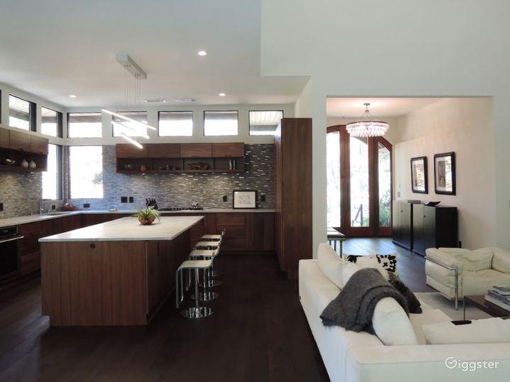 Black walnut open kitchen and island