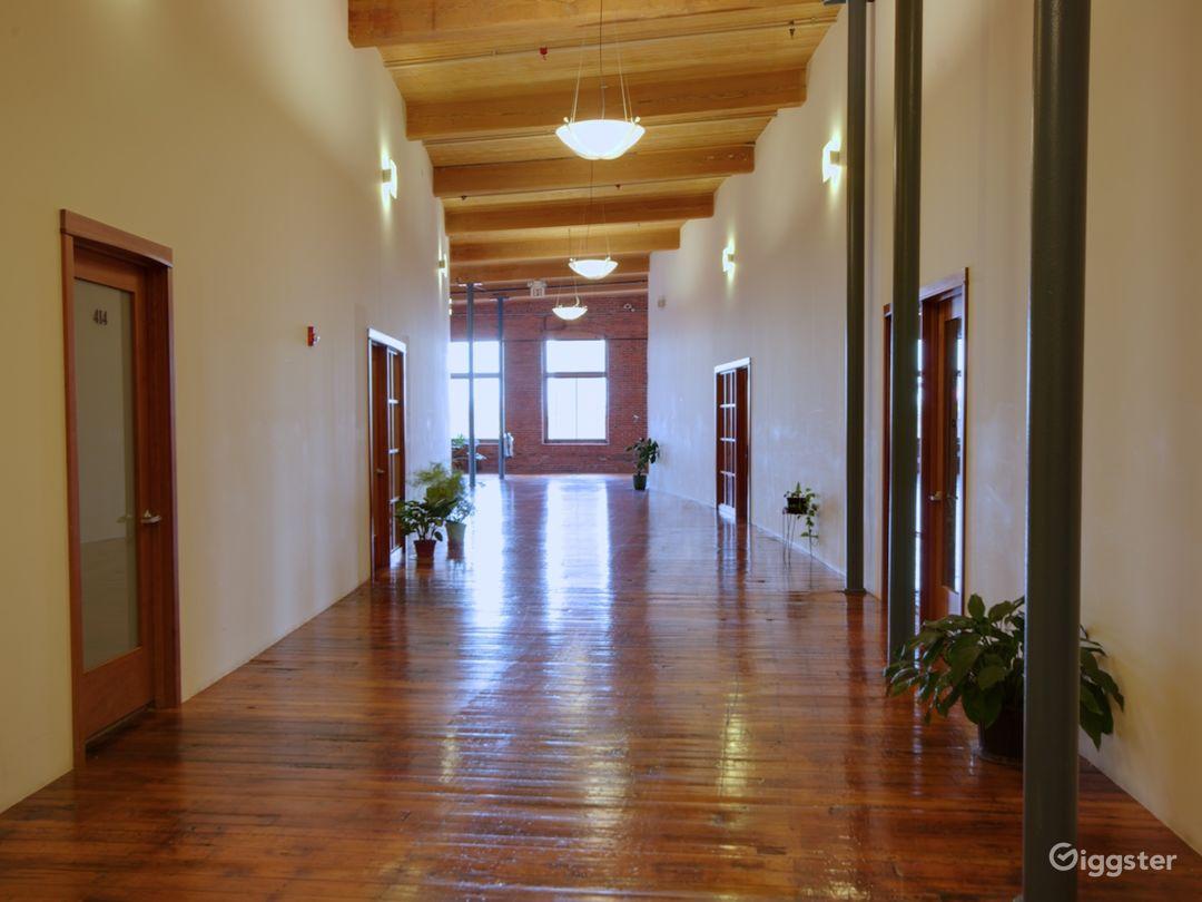 Mill 4, 4th floor curved hallway.
