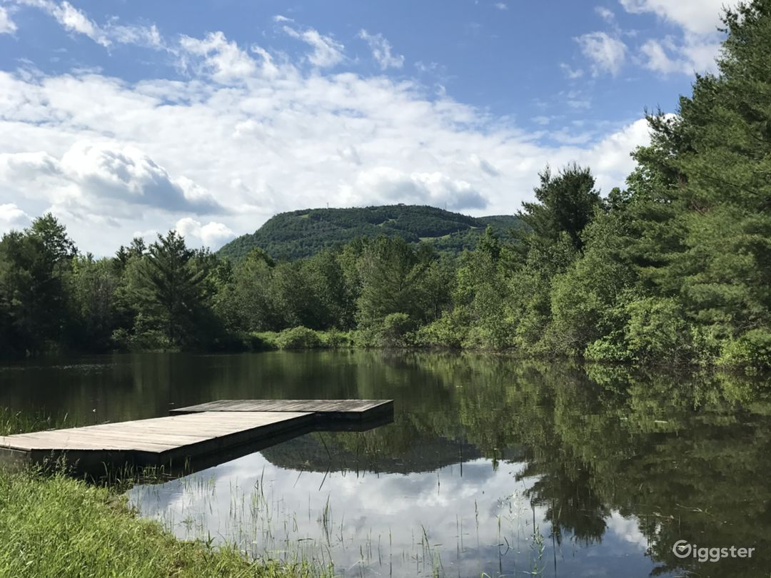 View of Hunter Mountain from the on property dock.