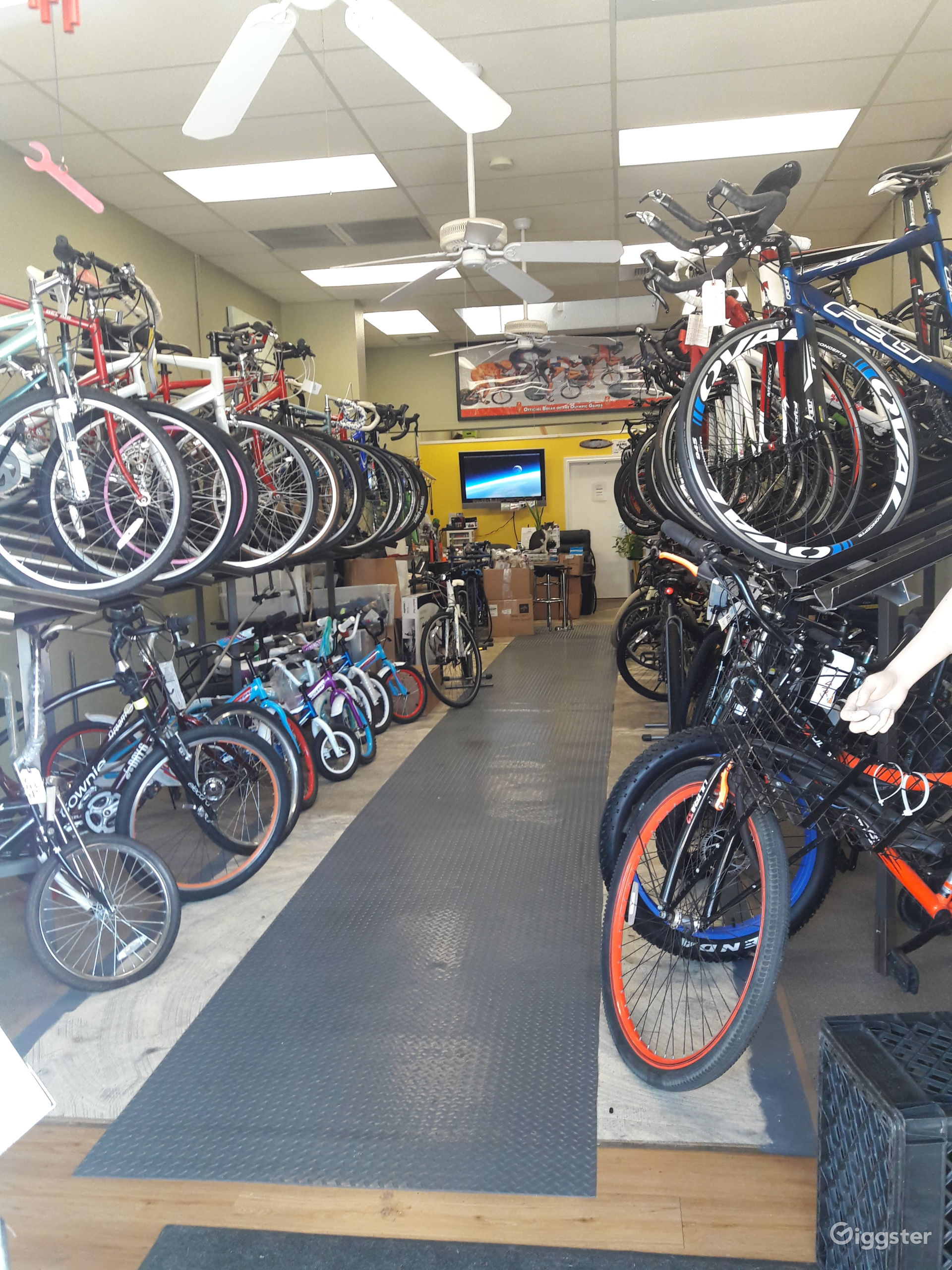 This is the Bike Shop view from the Front Door which opens up to the sidewalk.  11 Foot High ceilings