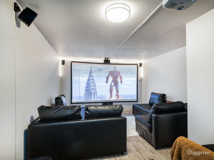 Secret basement Home theatre room with 120' screen for private movie screenings.  (max 6 people occupancy)