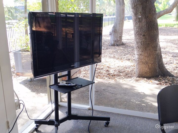 TV stand with HDMI hookup for presentations.