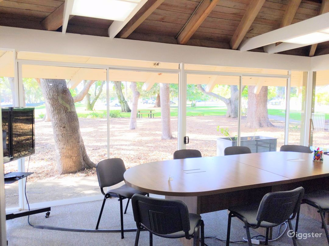 Recently upgraded conference room table has outlets in the table as well as more elbow room. Fits 10 comfortably.