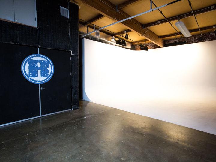 Westside Sound Studio with White Cyc & Brick Wall