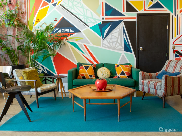 Colorful Creative Space with Murals and Modern Decor