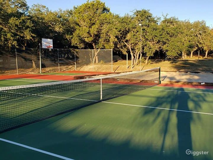Bright and Sunny Basketball and Volleyball Court Photo 3